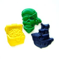 Pirate Party Favors - Reshaped Recycled Crayons - Package of 12 Pirate Shaped Color Crayons - Great for Toddler and Kids Birthday Partys. $12.00, via Etsy.