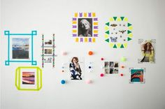 Instead of hanging pictures in frames, use washi tape to make a customized frame. I 29 Impossibly Creative Ways to Transform Your Walls Diy Wand, Washi Tape Frame, Washi Tapes, Masking Tape, Deco Tape, Mur Diy, Discount Bedroom Furniture, Alternative Art, Hanging Pictures