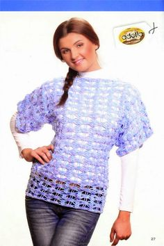 Grace y todo en Crochet: Beautiful blue tunic ...Preciosa tunica celeste.