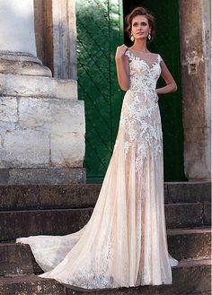 Buy discount Fabulous Tulle Bateau Neckline Sheath Wedding Dresses With Lace Appliques at Magbridal.com