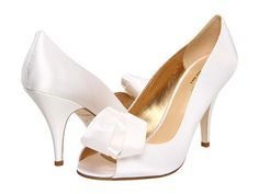 Kate Spade New York Clarice ~ Gorgeous Leather Insole & Lining ~ Flower Detail ~ Italian White Satin Wedding Pumps