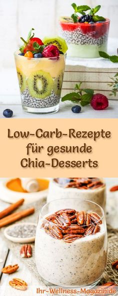 10 recipes for low carb chia desserts healthy dessert Low Carb Desserts, Healthy Desserts, Healthy Recipes, Gourmet Recipes, Low Carb Recipes, Law Carb, Chia Pudding, Paleo Breakfast, Paleo Dessert