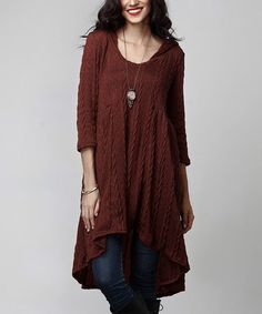 Love this Autumn Cable-Knit Hi-Low Hooded Tunic on #zulily! #zulilyfinds