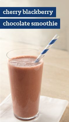 Cherry Blackberry-Chocolate Smoothie – Got almond milk? It lends a subtle, mellow flavor to this creamy Cherry Blackberry-Chocolate Smoothie recipe for two. Ready as a fresh snack idea in just 5 minutes.