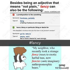 """Fancy can be an adjective verb or noun. As an adjective """"fancy"""" means 'not plain' as in """"What a fancy pen you have!""""  As a verb """"fancy"""" means 'to like' or 'to imagine' e.g. """"I fancy a cold beer right now.""""  Lastly as a noun """"fancy"""" means 'a liking' or 'craving' e.g. """"Nan's niece goes crazy about every passing fancy."""" #vocabulary #fancy #grammar #usage #esl #efl #learnenglish #webarebears"""
