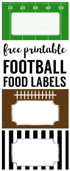 Football Food Labels free printable. DIY football party decorations for your super bowl party, football team party, football birthday party, or baby shower.