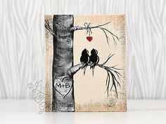Rustic Gift for Him or Her Wood Sign Wood Love Bird Painting