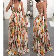 guest outfit PansyGal V Neck Printed Chiffon Floor length Event Dresses, Casual Dresses, Fashion Dresses, Prom Dresses, Summer Dresses, Backless Maxi Dresses, Floor Length Dresses, Print Chiffon, Classy Outfits