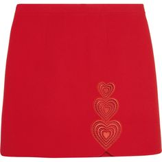 Christopher Kane Love Heart embroidered cutout crepe mini skirt ($690) ❤ liked on Polyvore featuring skirts, mini skirts, christopher kane, bottoms, red, embroidered mini skirt, heart skirt, cut out skirt, red mini skirt and short miniskirt