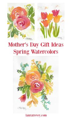 Bright inspiring watercolor florals make thoughtful gifts for Mother's Day. Click through to view the entire Spring Series for a simple, meaningful and beautiful gift.