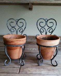 Set of Two Wrought Iron Plant Holders with Terra by FARMHOUSE1711