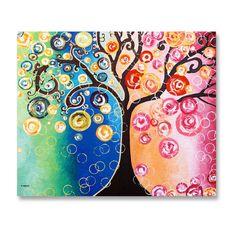 Tree Wall Art, Acrylic Tree Painting, Large Tree of Life Wall Decor, Living Room Decor, Office Decor Art, Bedroom Decor Art 20x24
