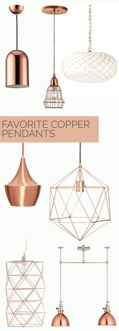 Affordable Copper Pendant Lighting Options - My Style Vita - copper kitchen Copper Pendant Lights, Copper Lighting, Home Lighting, Pendant Lighting, Pendant Lamps, Lighting Ideas, Island Lighting, Bedroom Lighting, Copper Lights Kitchen