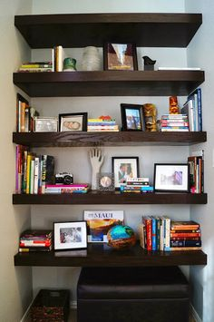 This, with rounded side to the window would be much nicer than built in shelves with moulding on the south kitchen wall.