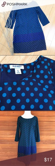 OLD NAVY blue dot dress, XS S. Old Navy beautiful blue toned dress, size extra small but would also fit a small with leggings. Fully lined, back zipper. Bust is 17 inches, length is 34 inches. Material is unspecified, but feels like a soft and silky outer layer with a nylon lining. Tag does say machine wash OK. Excellent condition! (It was windy when I was taking pics...) Old Navy Dresses