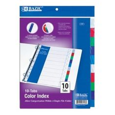 Multicolor durable dividers are constructed from a single piece of tough polyethylene. 10 colorful tabs with blank white labels included to help create quick tab titles for these wholesale bulk cheap discount three ring binders dividers. 11 hole dividers made to fit various types of ring binders.