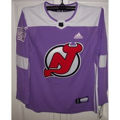 Hockey Fights Cancer New Jersey Devils Purple 255J Adidas NHL Authentic Pro Jersey