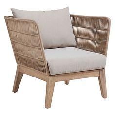 La Forma Bellano chaise longue eucalyptus / corde avec coussin beige - Lilly is Love Outdoor Daybed, Outdoor Armchair, Outdoor Lounge, Outdoor Chairs, Modern Armchair, Outdoor Dining, Wood Arm Chair, Dining Arm Chair, Outdoor Living Furniture