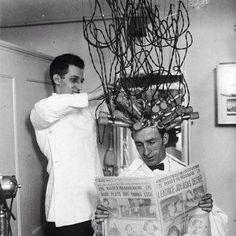 vintage barbershop.....hair waving machine