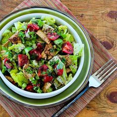 Fattoush Lebanese Salad with Sumac and Pita Chips - add red onion (omit chips for paleo)