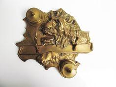 Unique and rare brass lion head desk accessory by EbyVintage