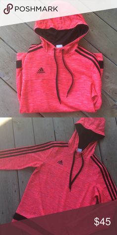 Pink adidas sweatshirt I absolutely love this adidas sweatshirt, just have too many. Hardly worn! Bright, vibrant pink color Adidas Tops Sweatshirts & Hoodies