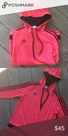 Pink adidas sweatshirt I absolutely love this adidas sweatshirt, just have too many. Hardly worn! Bright, vibrant pink color Adidas Tops Sweatshirts & Hoodies