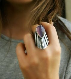 Lonely Tear Purple Chalcedony Sterling Silver Ring