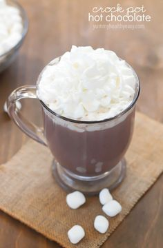 This Crock Pot Hot Chocolate recipe is the easiest way to make hot chocolate for a crowd!