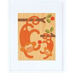 Monkey Baby Framed Print - $44.00  Printed on sustainably harvested maple veneer and framed in a modern white hardwood frame. Includes a glass front and comes ready to hang.
