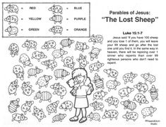 The Parable of the Lost Sheep Sunday School Games, Sunday School Lessons, Sunday School Crafts, Jesus Crafts, Bible Crafts, Free Bible Coloring Pages, Parables Of Jesus, The Lost Sheep, Sheep Crafts