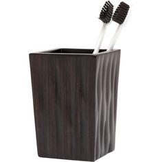 Pigeon & Poodle Montrose Dark Brown Tooth Brush Holder ($135) ❤ liked on Polyvore featuring home, bed & bath, bath, bath accessories, bamboo toothbrush holder, bamboo bathroom accessories and bamboo bath accessories