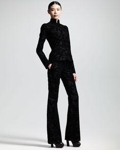 Alexander McQueen:   Flocked Flannel Mandarin-Collar Jacket & Trousers