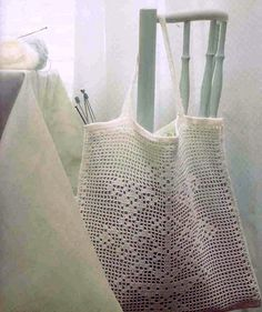"""""""Crocheted Bag"""" -- No tutorial. Possibility for filet crochet?"""
