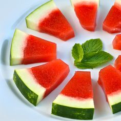 Jello Shots made from fresh watermelon and mint inside a real watermelon rind! {Step-by-Step Pictures}