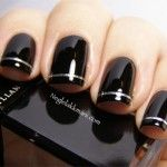 Holographic Striping Tape on Black Nail Art Manicure