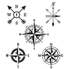 Compass Rose Cuttable Designs SVG, DXF, EPS use with Silhouette Studio & Cricut, Vector Art, Heat Transfer Vinyl Digital Cutting Cut Files Arrow Tattoos, Rose Tattoos, Body Art Tattoos, Tatoos, Gun Tattoos, White Tattoos, Ankle Tattoos, Simple Compass Tattoo, Compass Tattoo Design