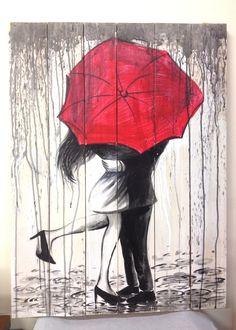 Pannello in legno dipinto a mano, Innamorati sotto la pioggia