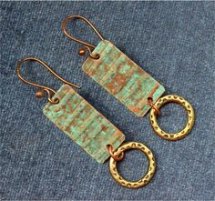 Hammered Rustic Mixed Metal Earrings by SunStones on Etsy, $14.00