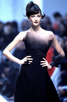 "Beautiful angular ""ombre"" neckline. Claude Montana: RTW Spring 1996"