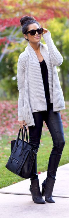 Pleather Skinnies + Cozy Cardigan