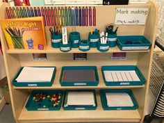 Labelling in the mark making area at at Asquith Kirkby nursery Classroom Layout, Classroom Design, Preschool Classroom, Classroom Ideas, Preschool Library, Preschool Writing, Writing Center Organization, Classroom Organization, Pre K Activities