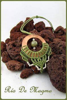 Macrame necklace with copper ring and silver plated beads. Feminine necklace…