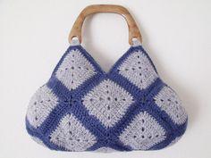 Square Crochet HandbagDenim Blue And GreyReady For by knittingshop, $45.00