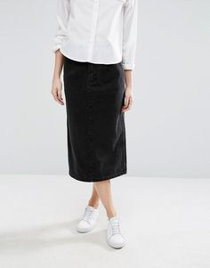ASOS Petite | ASOS PETITE Denim Mom Skirt in Washed Black at ASOS