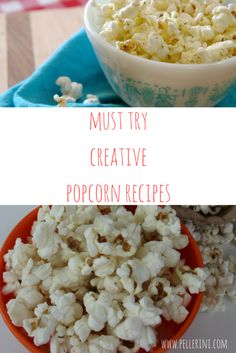 Popcorn is my all time favorite snack. I am completely content with lightly salted, freshly popped popcorn but have been trying out some fun and creative popcorn recipes.  Here are ten super delicious options for the next time you have a movie night at home or just want to spice up your snack!