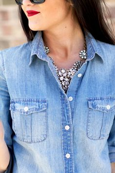 J.Crew Keeper Chambray shirt in 'Afternoon Sky' & J.Crew Flower Lattice necklace   pink peonies