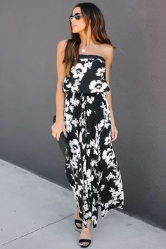 Summer Strapless Slit Black White Floral Dress, Shop for cheap Summer Strapless Slit Black White Floral Dress online? Buy at Modeshe.com on sale! White Floral Dress, Floral Dresses, Maxi Dresses, Party Dresses, Casual Dresses, Fashion Dresses, Dresses To Wear To A Wedding, Maxi Dress With Sleeves