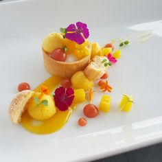 Mint and mango tart with mango foam sautéed mango guava fluid gel and passion fruit coulis. by meghan_reeves333