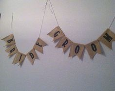 bride and groom hanging banners for chairs or table by photoprintdesign handmade printed burlap and jute wedding banners